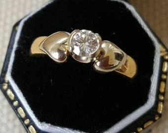 Brilliant Cut Diamond Single Stone Bi-colour 18ct Gold Ring .25ct