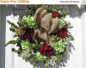 ON SALE NOW ~ Luxe Berry and Floral Wreath ~ Door Wreath ~ Door Decor ~ Interior Wall Decor ~ Faux Berry Wreath ~ Luxury