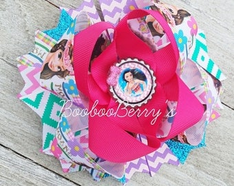moana stacked hair bow, stacked boutique hair bow, character bows