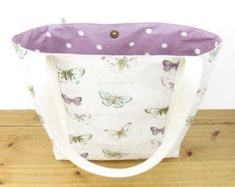 butterfly handbag - canvas tote shopping bag - Best friend present idea - teacher tote bag - bridesmaids gift bag - Summer everyday bag
