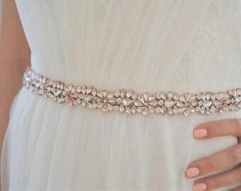 BELLAMY Rose Gold Wedding Dress Belt/ Bridal Sash