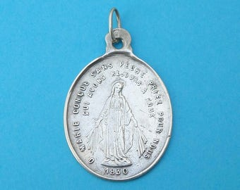 French, Antique Religious Sterling Pendant. Saint Virgin Mary 1830. Jesus Christ, Sacred Heart. Miraculous Silver Medal. 170617 4 K