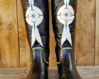 Size 7 Hand Painted Genuine Leather Riding Boots Geometric Tribal