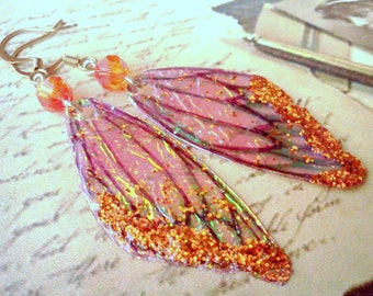 Orange Fairy Wing Earrings, Halloween Costume Jewelry, Handmade Earrings, Orange Wings, Glittery Orange Wings, Orange Wing Dangles, Boho