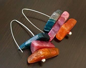 Gemstone Earrings Large Earrings Colorful Earrings Statement Earrings Dangle Earrings Chunky Earring Unique Earring Blue Pink Orange Earring