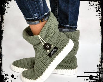 Crochet Boots Knit boots  for  street adult   outdoor made to Order Boots crochet  Crochet Knitted Shoes Outdoor Boots  KAKI