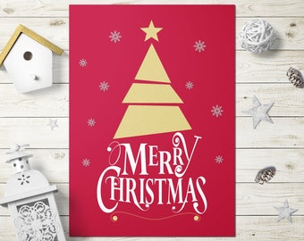 Instant Download Christmas Card, Christmas Cards Printable, Merry Christmas Card Digital, Instant Download Merry Christmas