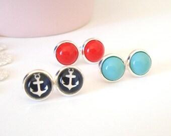 Little Nautical Post Earrings, Vintage Glass Posts, Retro Earrings, Feminine Earrings, Gift for Her