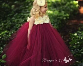 Wine Flower Girl Dress, Wine Tutu Dress, Wine Tulle Dress, Wine Dress, Wine Wedding, Wine, Ivory Flower Girl Dress, Ivory Tutu Dress, Ivory