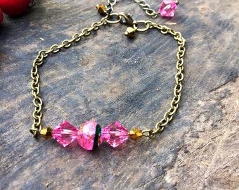 Sparkly bracelet, pink crystal bracelet, chain bracelet, boho bracelet, gift for her, christmas gift
