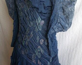 Ann Bolon Vintage designer dress-leaf design embroidery, ruffled skirt, size 12