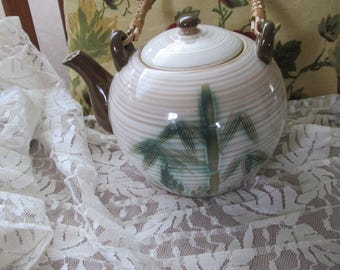 Vintage Bamboo Handled Tea Pot