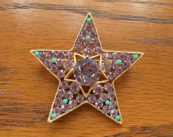 Signed BSK Large Purple Rhinestone Star Brooch Lavender Crystal Rhinestones Superstar Gift