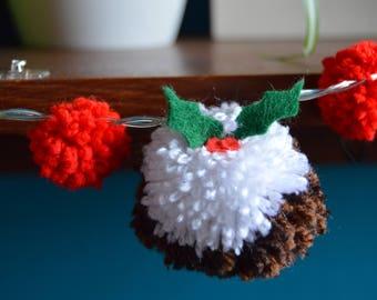 Christmas Lights - Battery Fairy Lights - Christmas Decoration - Christmas Pudding - Fun Decor - Pom pom garland