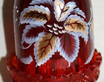 Fenton Hand-Painted Poinsettia on Ruby Fairy Lamp Signed #5405 Limited Edition