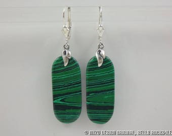 Genuine Malachite Long Flat Oval Tab Dangle Earrings curled bail - Sterling