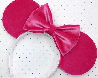 Fuchsia Pink Velvet Mouse Ears