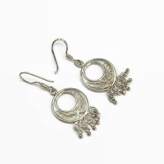 Sterling silver filigree hook earrings, open filigree circle with 5 dangles of little balls at the bottom, ethnic, Boho