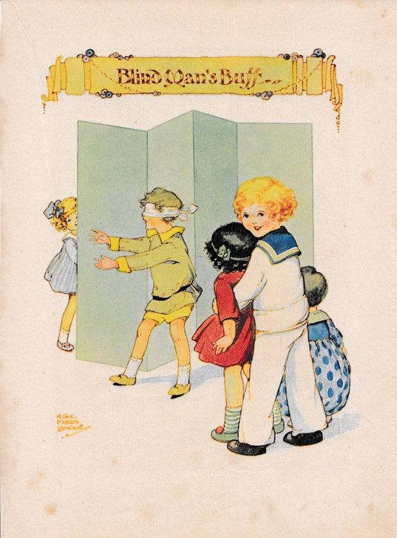 "Children's book illustration by H.G.C. Marsh Lambert, ""Blind Man's Buff"", published 1950s, book print"