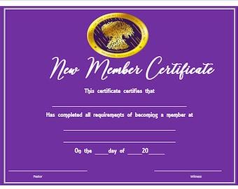 COGIC Purple New Members Certificate