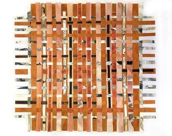 Crossword Paper Weaving- Crossword Puzzles- Black, White, Sienna Brown, Salmon- Handwoven Paper Art- Original Mixed Media- 13x14