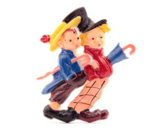 Vintage Czech Bohemian Deco hand painted early plastic Victorian couple with umbrellas pin brooch 3261-76