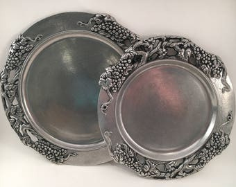 Vintage Pewter Plates - Vintage Pewter - Pewter - Pewter Like Plates - Set of 2 - Silver Plate - Vintage Metal Plate - Grapevines - Plate
