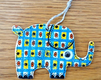 Patchwork Elephant Ornament - Hand Painted - One of a Kind
