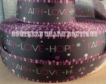 "3 yards 1"" Faith-Love-Hope grosgrain ribbon"