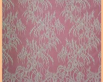 Fine Chantilly Lace Fabric sell by yards high quality eyelash lace fabric Bilateral Eyelash Lace, French Style Wedding Dress lace