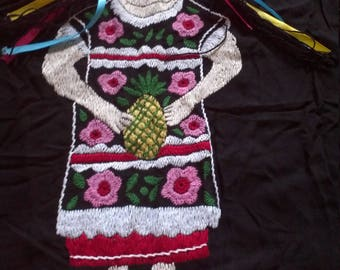 Mexican Ugly Doll Blouse, 3D Zuchilla Oaxaca Handembroidered Blouse/Black Boho Mexican Tunic S/M