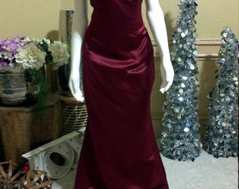 Sangria Satin Bill Levkoff Bridesmaid Dress /Wedding Guest Dress/ Prom Dress/ Graduation Dress/straplessEvening Gown/Red Carpet Gown Size S