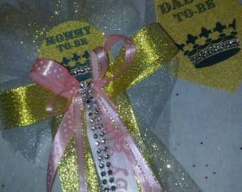 Mommy and Daddy Baby shower corsage and tie set gold and pink Princess