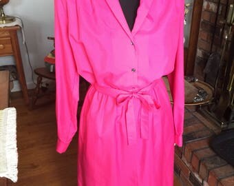 Vintage, Carroll Reed, 1970's, Polyester, Vibrant Salmon Color, Shirt Dress.