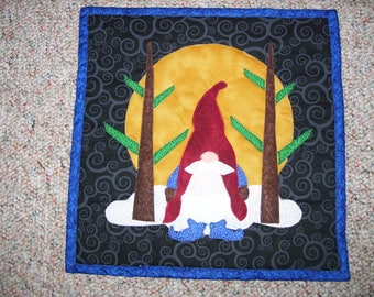 Knomes-Swedish folklore-small knome quilt-Swedish quilt-machine quilted and appliqued