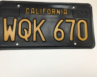Vintage 1963 California License Plate