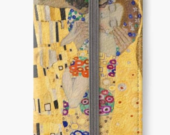 Folio Wallet Case for iPhone 8 Plus, iPhone 8, iPhone 7, iPhone 6 Plus, iPhone SE, iPhone 6, iPhone 5s - The Kiss Lovers Gustav Klimt