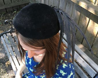 Vintage Black Cloche Style hat. feathers. Georgi. Made in the USA.  Fascinator. Velvet. Mad Men. Classic 1950's Hat. Cloche