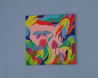 Acrylic Painting, Small Wall Art, Canvas Art – 'Bird and the Butterfly' Abstract by Kenneth Polisse Jr.