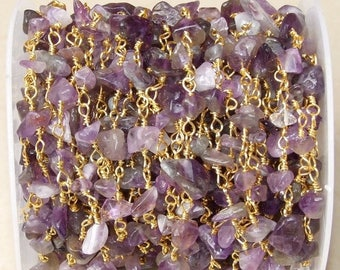 Amethyst Rosary Chain - Gold Plated Wire Wrapped Rosary Chain.  6mm - 12mm Chips - Sold by the Foot