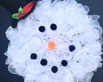 Snowman Christmas Wreath For Front Door, Decomesh Christmas Wreath, Winter Wreath For Front Door, Snowman Decor,  Frosty The Snowman Wreath