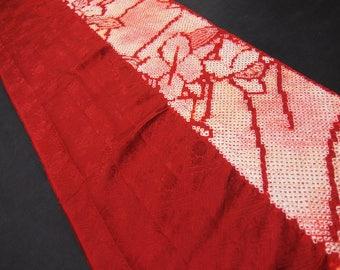 "14.3""w. x 40.1""l. Vintage kimono silk fabric red shibori flower 2465J"