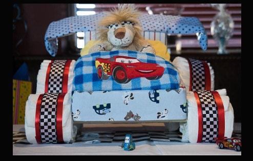 Racing car diaper cake, Cars theme diaper cake