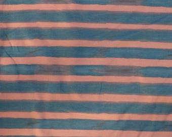 Fabric - jersey fabric - Navy and pink watercolour stripe print cotton/elastane knit