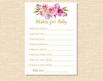 Watercolor Wishes for Baby, Baby Shower Games, Baby Shower for Girl, Baby Shower Activity, Best Wishes for Baby, INSTANT DOWNLOAD, BSW1