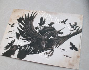 map postcard black winged Unicorn