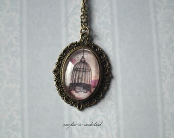 Bird Cage glass Cabochon necklace
