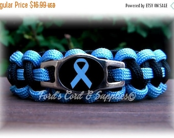 CIJ SALE Light Blue Awareness Bracelet, Paracord Bracelet, Prostate Cancer, Addison's Disease, Edwards Syndrome, Scleroderma, Graves Disease