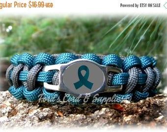 SALE Teal Awareness Bracelet, Paracord Survival Bracelet, Ovarian Cancer, Cervical Cancer, Myasthenia Gravis, PTSD, Tourette's Syndrome, Sur