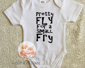 pretty fly for a small fry onesie, song onesie, rap onesie, new baby bodysuit, small fry onesie